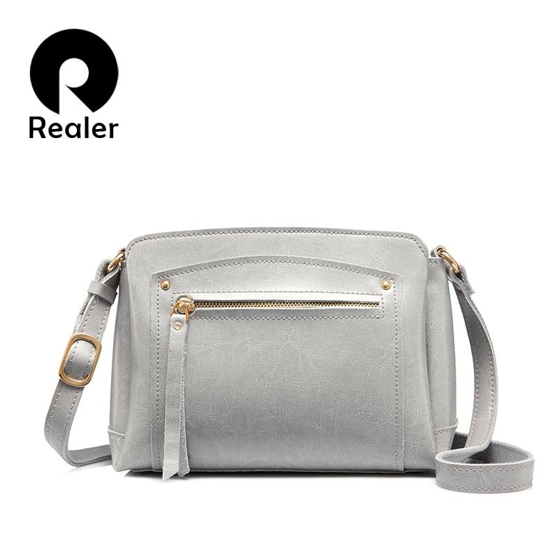 Realer повседневная женская сумка через плечо из сплит кожи,маленькая сумочка на плечо со много карманов,дамские сумки мешок высокого качеств...