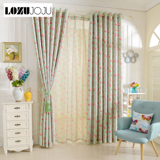 LOZUJOJU Short Window Curtains For Bedroom Window Drapery Floral Design  Rustic Blackout Curtains Tulle Curtains Girlu0027s