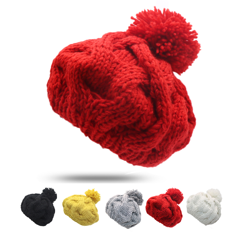 free shipping 2017 new fashion winter high quality acrylic hat knitted hat bonnet ladies casual cap for women ladies 2Pcs Brand New Women Winter Beanies Warm Hat Ladies Cap Solid Color Bonnet Winter Hats For Women Knitted Cap Gorros Beanies