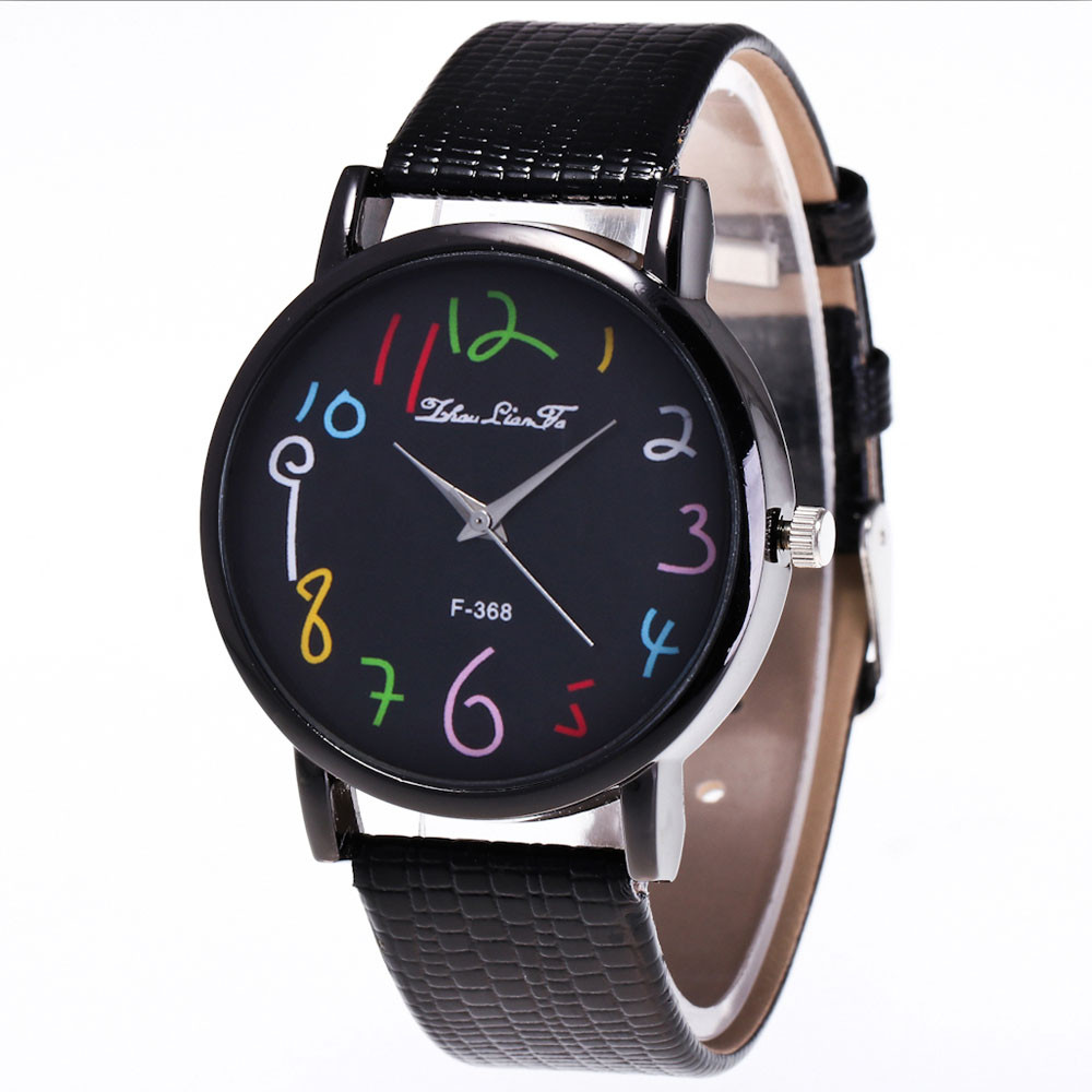 Zhoulianfa Funny Digital Watches Women Men's PU Leather Band Analog Quartz Watch Ladies Casual Large Dial Wrist Watches #LH new fashion women retro digital dial leather band quartz analog wrist watch watches wholesale 7055
