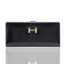 Brand Designer Natural Leather Women Wallets Hot Genuine Leather Crocodile Female Clutch Purse Long Card Holder Wallet Women Bag