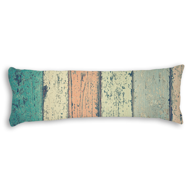 Vintage Retro Wooden Pattern Pillowcase Long Body Pillow Cover Extraordinary Teal Decorative Bed Pillows