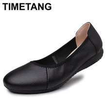 TIMETANG Fashion Genuine Leather Ballet Flat Shoes Woman Pointed Plus Solid Black Shallow Soft Office Work Pregnant Shoes Woman(China)