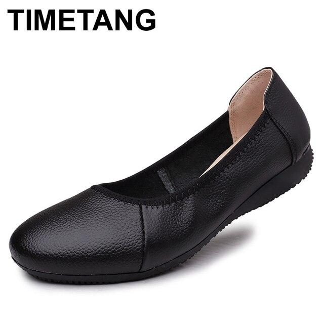 TIMETANG אופנה אמיתי עור בלט שטוח נעלי אישה מחודדת בתוספת מוצק שחור רדוד רך משרד עבודה בהריון נעלי אישה