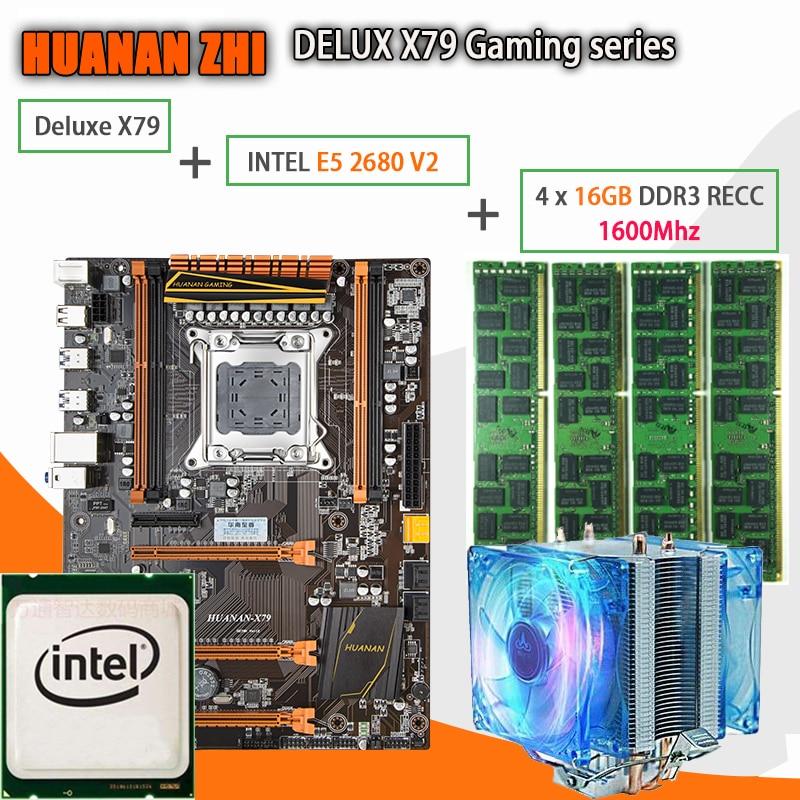 HUANAN ZHI Deluxe X79 gaming motherboard LGA 2011 ATX with CPU E5 2680 V2 SR1A6 4 x 16G 1600Mhz 64GB DDR3 RECC Memory Cooler