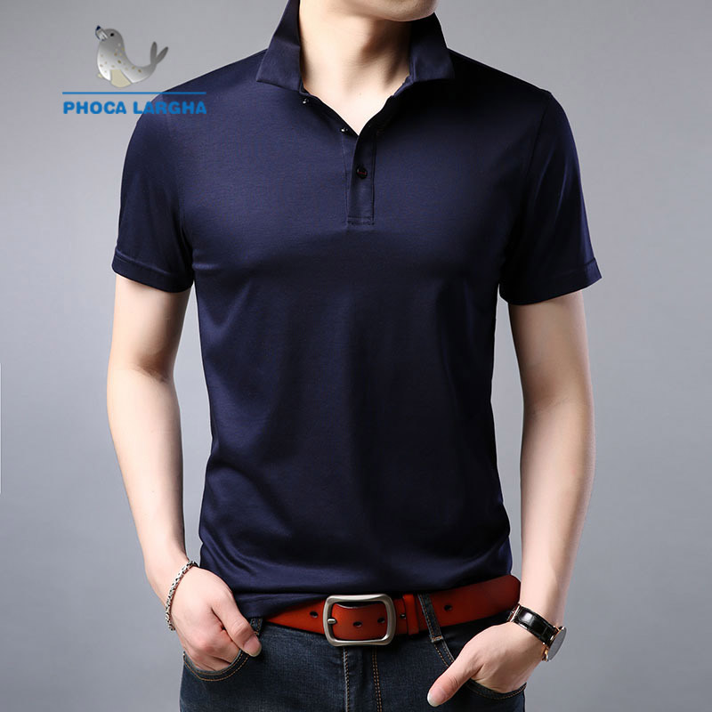 Mulberry Silk Short-Sleeved Male Middle-aged Thin Section Loose Solid Color Casual   polo   Shirt Summer Lapel Men's shirt