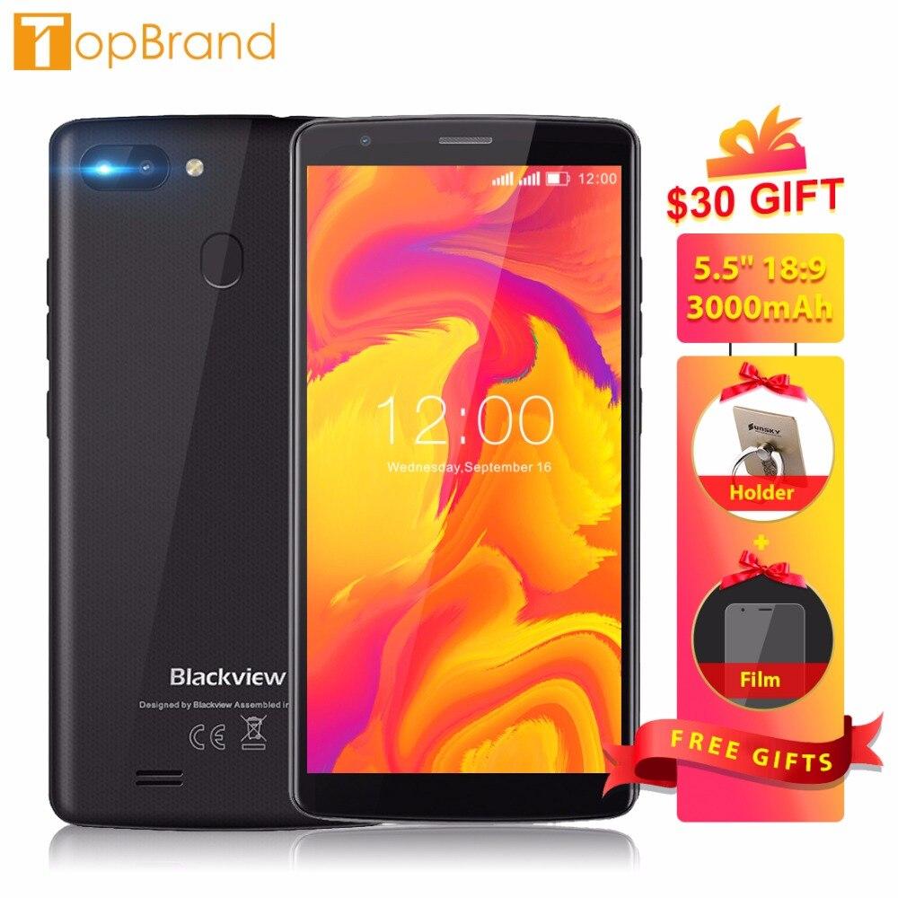 BLACKVIEW A20 Pro Téléphone 2 gb 16 gb Smartphone 5.5 18:9 Plein Écran MTK6739 Quad Core 8MP Double Retour caméra Android 8.1 D'empreintes Digitales