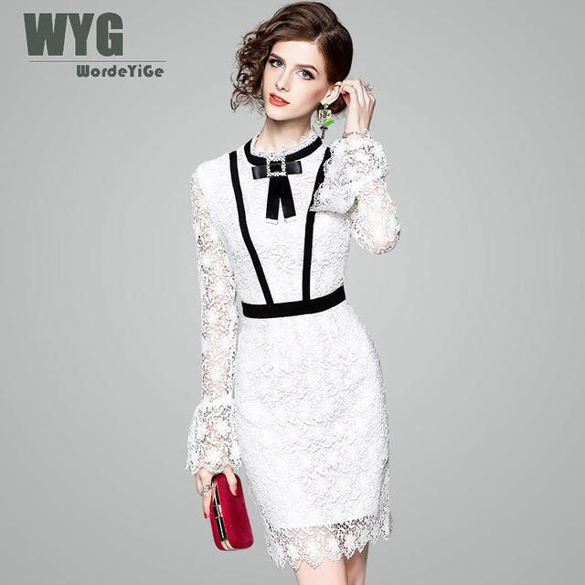 ed70a4f0892 White Lace Dress For Women 2018 Spring Contrasting Black Hollow Out Bow Tie Flare  Long Sleeve European Bodycon Dress WYG