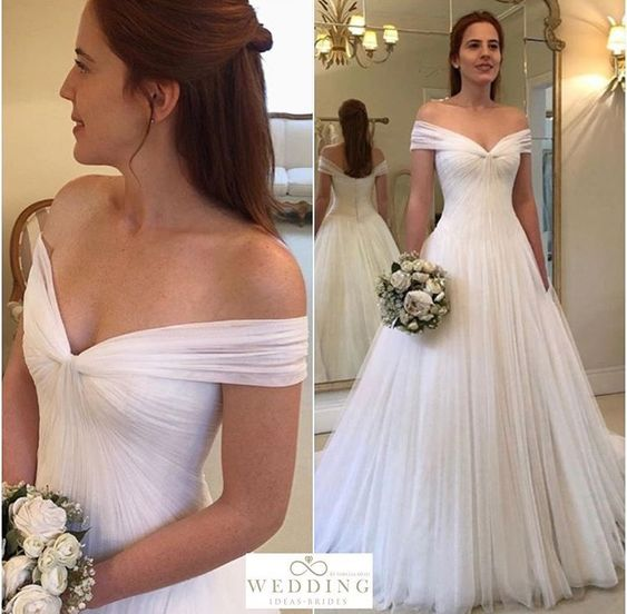 Купить с кэшбэком Off Shoulder Wedding Dresses Simple Tulle Vestido De Noiva Robe De Mariage Dresses Married White Bridal Gown