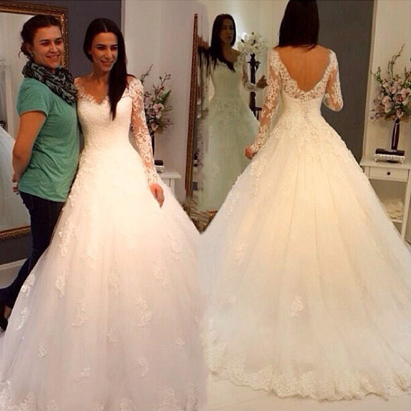 Wedding Dresses Wedding Gown Sheer Long Sleeves White: White Lace Appliques Ball Gown Wedding Dresses Long