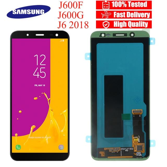 100% الأصلي 5.6 ''سوبر AMOLED شاشات lcd لسامسونج غالاكسي J6 2018 J600F J600 عرض مع اللمس إحلال تركيبات الشاشة أجزاء
