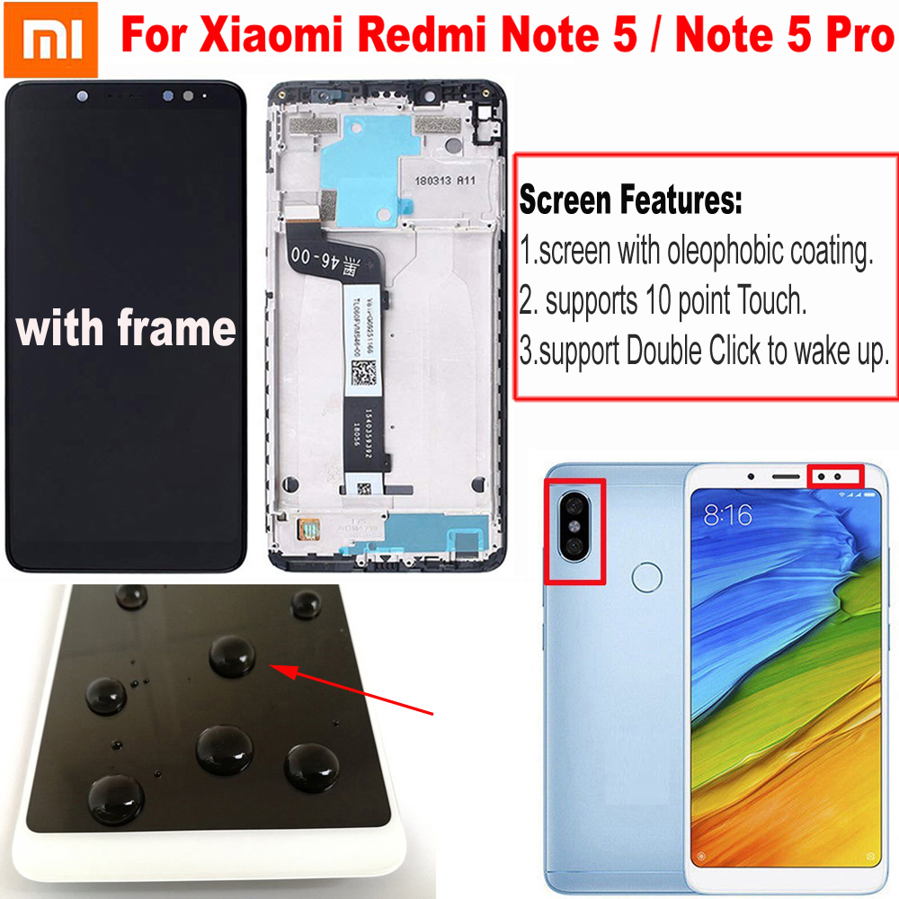 Original Best Xiaomi <font><b>Redmi</b></font> <font><b>Note</b></font> <font><b>5</b></font> <font><b>Pro</b></font> <font><b>LCD</b></font> Display Touch Screen Digitizer Assembly With Frame For <font><b>Redmi</b></font> <font><b>Note</b></font> <font><b>5</b></font> <font><b>LCD</b></font> Snapdragon 636 image
