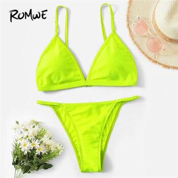 Romwe Спорт неоновый Лайм треугольник Топ с Танга низ набор с бикини для женщин зеленый яркий летний Спагетти ремень Мягкий купальник