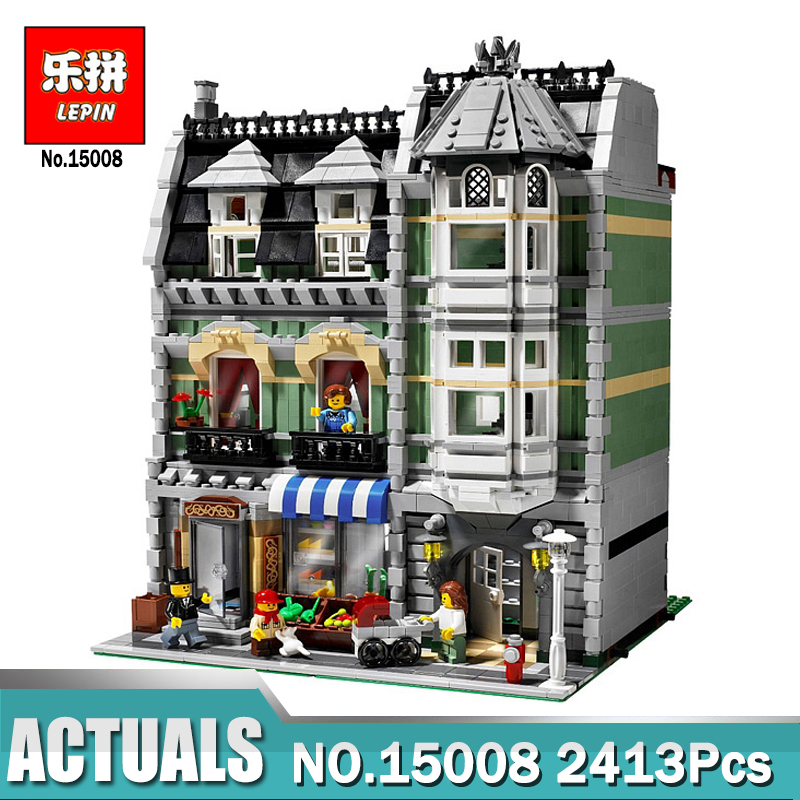 Lepin 15008 2462Pcs City Street Green Grocer Model Building Kits Blocks Bricks Compatible Legoing 10185 Educational toys lepin 15008 new city street green grocer model building blocks bricks toy for child boy gift compatitive funny kit 10185 2462pcs