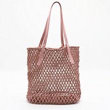 Fashion Women Handbag Hollow Mesh Woven Shoulder Bag New Hot Summer Holiday Handmade Cotton Rope Net Beach
