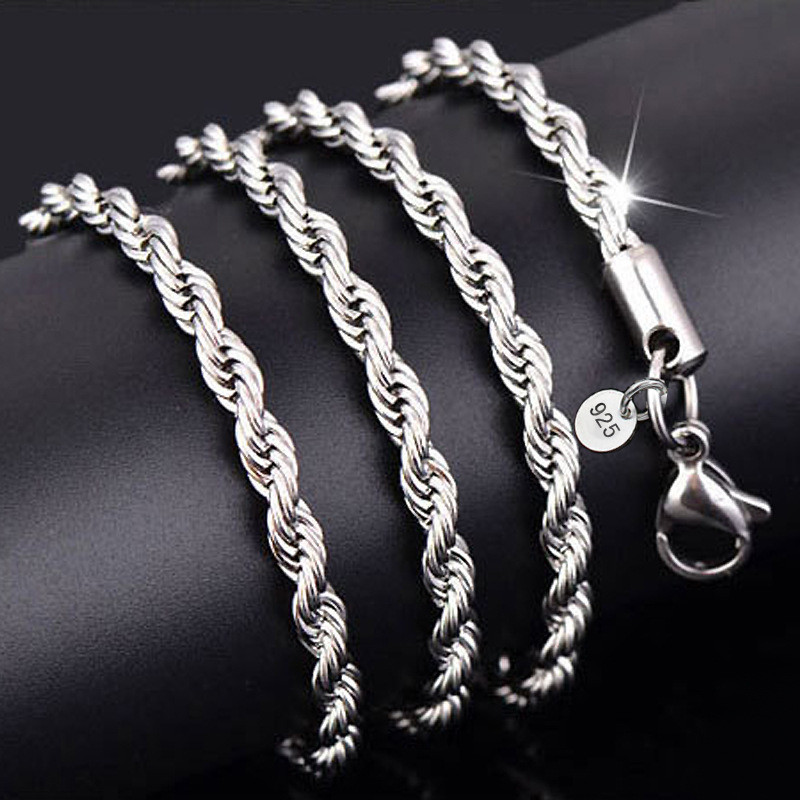 925Sterling silver stamp snake necklace chain 1MM 2MM 3MM 4MM5MM 6MM 16-30inch