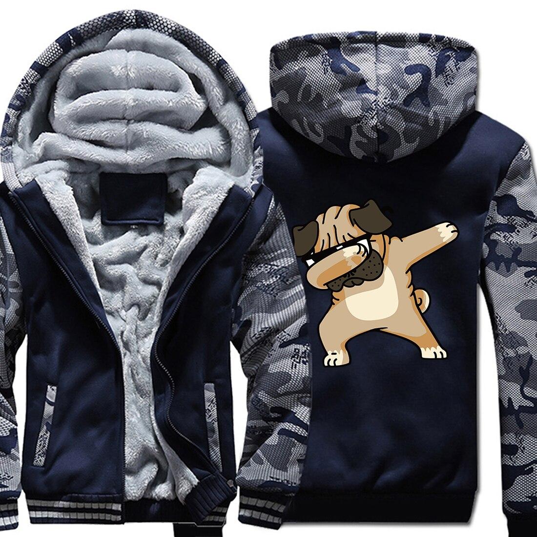Hip hop sportswear tracksuits 2019 winter Novelty Dabbing Pug hooded jackets Men casual wool liner keep warm sweatshirts hoodies in Hoodies amp Sweatshirts from Men 39 s Clothing