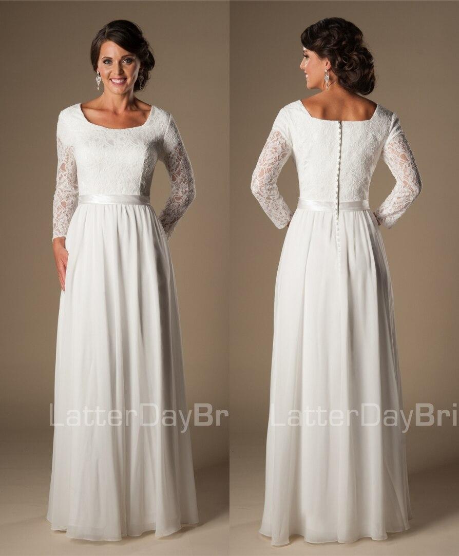 Modest Wedding Dresses 2019: Ivory A Line Vintage Lace Beach Modest Wedding Dresses