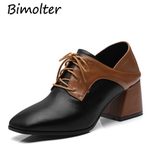 Bimolter New Fashion Autumn Genuine Leather Sole Lace Up Designer Pumps Thick High Heels Women Shoes Western Style LCEA010