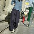 2017 Mujeres Cruzadas Pantalones Culotte Pierna Ancha Pantalones Harem Flojo del Color Sólido de Primavera Otoño pantalones de Chándal de Moda 021610
