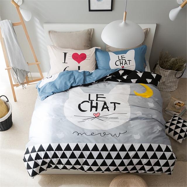 100 Baumwolle Grau Und Tiefblauen Bettwäsche Sets 4 Stücke Katzen