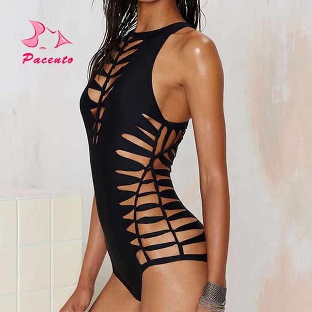 c16ddcc29acc1f Pacento One Piece Swimsuit Czarny Monokini Wyciąć Hollow Sexy stroje  kąpielowe damskie stroje kąpielowe 2017 plus