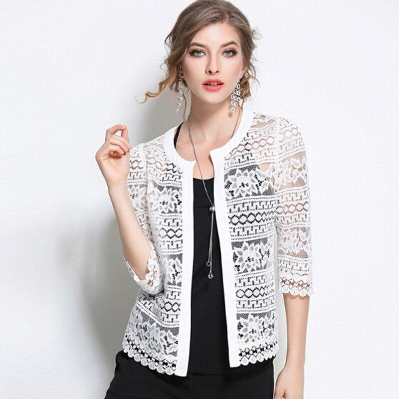 L 5XL 2017 Summer Black White Lace Cardigan Jacket Sexy Fashion ...