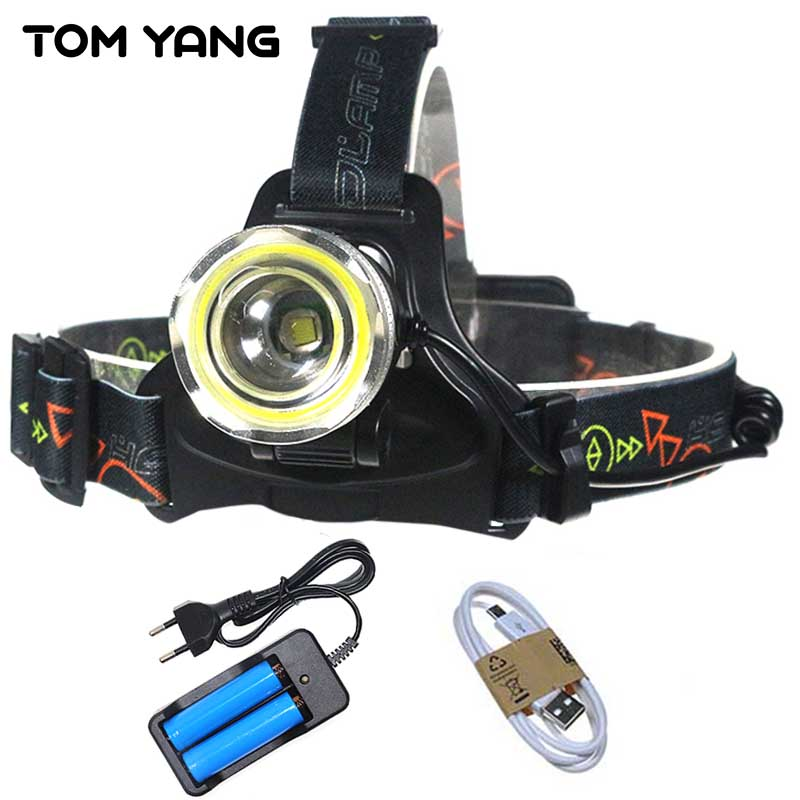 Micro/USB cree xml t6 rechargeable headlamp 10000 lumens zoomable cob light head torch lamp camp led headlight use 2*18650/3*AA