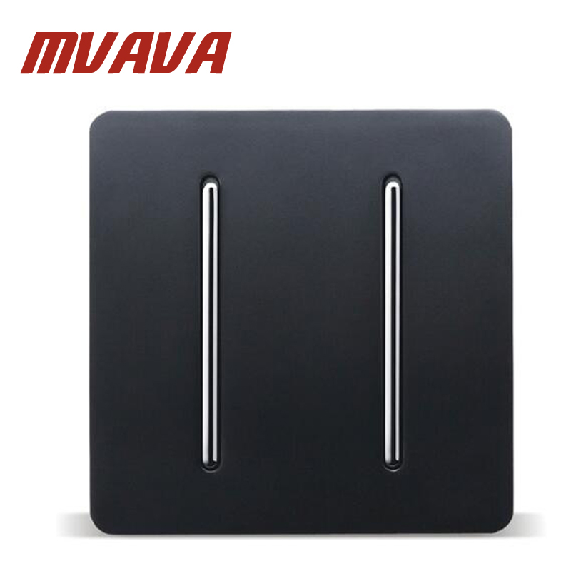 MVAVA 86*86MM Black PC Panel Home Light Switch 110-250V 2 Gang 1 Way Electric Key Push Button Light Wall Switch Lamp Switch 16mm 3 position key switch 2no 2nc key lock push button switch 5a 250v ip65