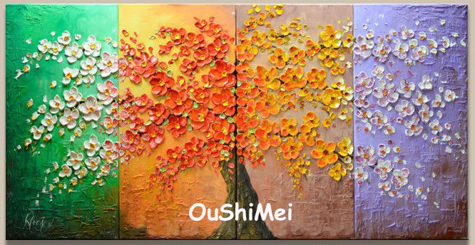 Hand Painted Four Seasons Landscape Oil Painting Picture Modern Wall  Paintings On Canvas Pictures For Decor Knife Tree Painting-in Painting &  Calligraphy ... - Hand Painted Four Seasons Landscape Oil Painting Picture Modern Wall