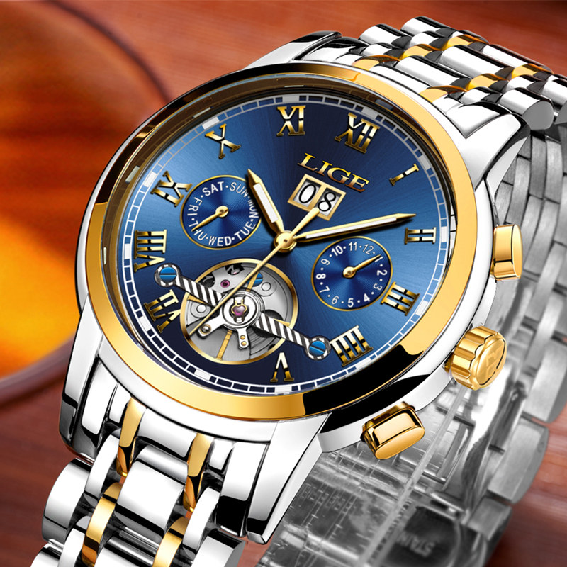все цены на LIGE Mens Watches Top Brand Luxury Automatic Mechanical Watch Men dress Casual fashion Sport Waterproof Clock Relogio Masculino