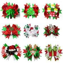 Christmas girls hair bows headband cartoon children crocodile clip accessories headwear colorful tree decoration
