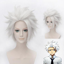 Anime BLEACH Hitsugaya Toushirou Cosplay Wig Short Silver Grey Fluffy Layered Synthetic Hair + Wig Cap