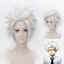 Anime BLEACH Hitsugaya Toushirou Cosplay peruk kısa gümüş gri kabarık katmanlı sentetik saç + peruk kap