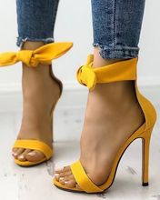 Peep Toe Thick Strap Ankle Stiletto Sandals Butterfly-knot Yellow Black Pink Thin High Heel Open Party Free Ship