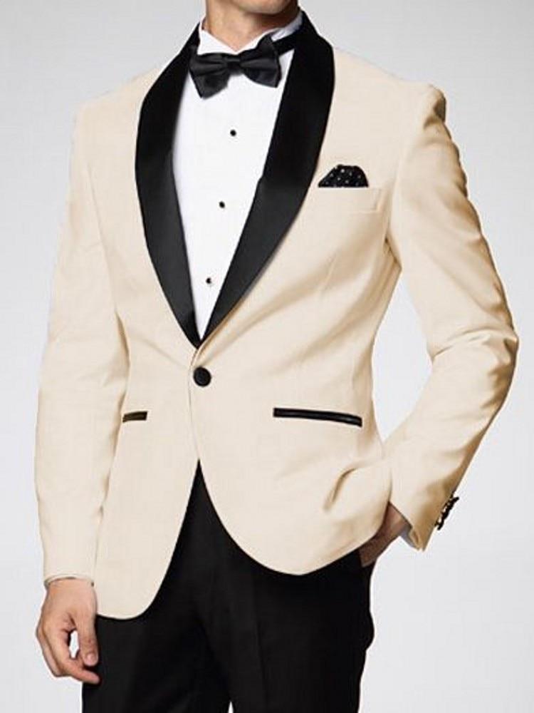 MYS Mens Custom Made Black Edge Shawl Lapel Suit Pants Tie Set White