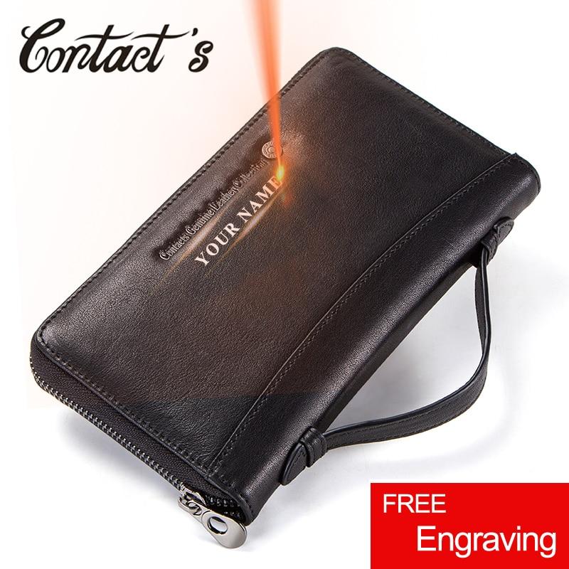Contact's Men Wallets Genuine Leather Male Long Clutch Purse Coin Pocket Zipper Wallet Passport Cover Card Holder billetera