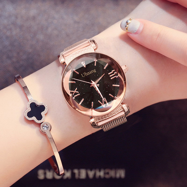 56266d8b5345a Bütçe Ulzzang marka moda kadın saatler yıldızlı gökyüzü gül altın ...