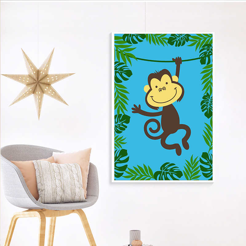 Elegant Poetry Kawaii Jungle Animal Cartoon Modern Canvas Painting Art Print Poster Picture Paintings Children Bedroom Wall Deco
