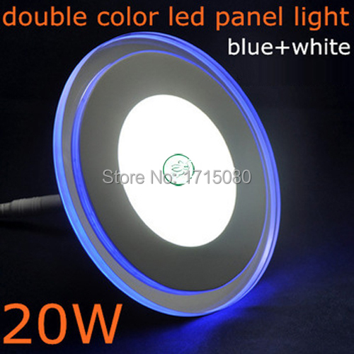 20W Round LED Panel Light double color Acrylic Recessed Ceiling Panel Down Light Lamp  for bedroom luminaire free shipping
