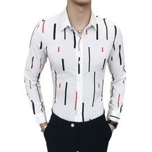 The new Korean mens long-sleeve shirt with stripes and printed for autumn 2019/ shirts men dress