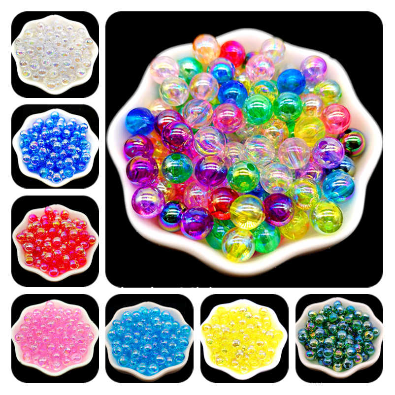 4/6/810mm AB Color Round Acrylic Bead Loose Spacer Beads For Jewelry Making DIY Bracelet