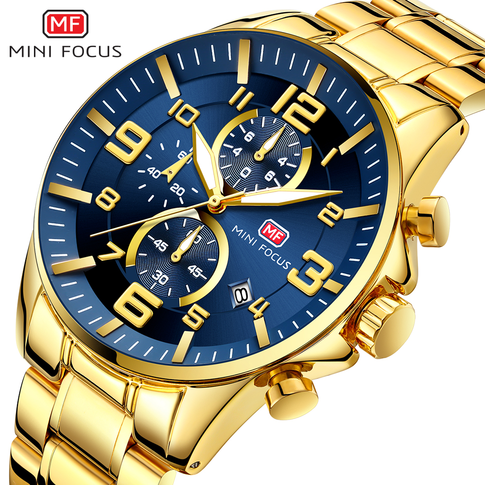 2019 NEW FASHION Royal Golden Blue Men's Quartz Watch Top Brand Luxury Man Chronograph Watch 3 Dial Sports MINI FOCUS Wristwatch