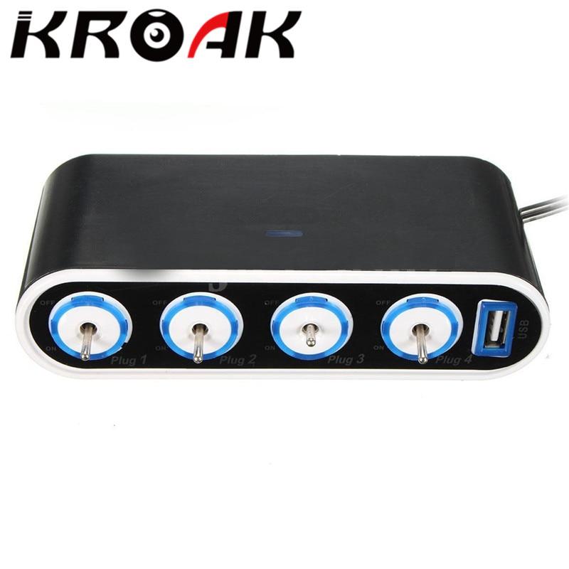 KROAK 4 Way Car Power Adapter Cigarette Lighter Socket Splitter Charger 12V/24V USB+LED Light Switch universal car usb port 3 way cigarette lighter charger splitter car charger power adapter outlet dc 12v led light switch