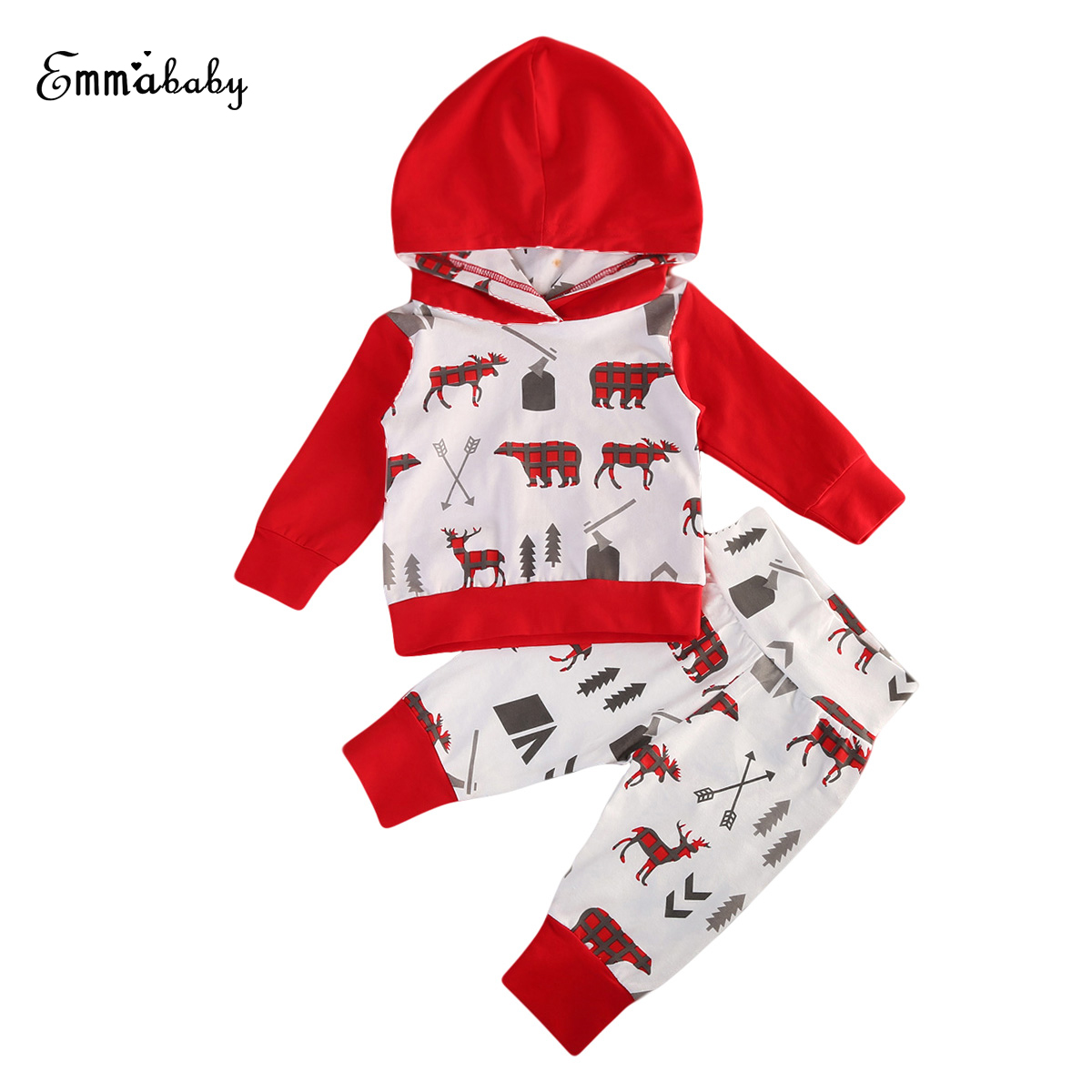 Emmababy 2PCS Toddler Baby Boys Long Sleeve Cotton Hooded Tops + Long Pants Home Outfits Set Clothes