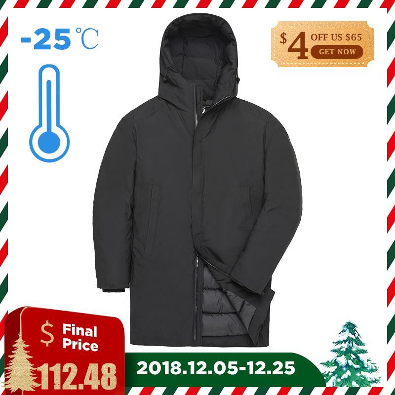 TIGER FORCE 2018 зимняя мужская куртка длинная стеганая куртка мужская однотонная парка на шнурке с капюшоном теплое пальто повседневное утолщени...