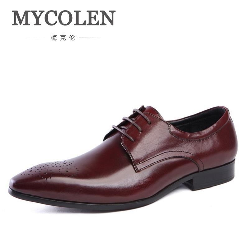MYCOLEN Spring Autumn Mens Shoes Dress Cowhide Leather Black Fashion Oxford Formal Business Male Shoes Wine Red sepatu pria mycolen 2018 new fashion mens oxfords vintage dress shoes luxury brand comfort office man shoes for party sepatu pria