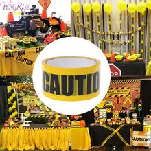 FENGRISE Opp Yellow Warning Tapes Birthday Party Decoration For Home Sticker Caution DIY Warehouse Factory School Decor