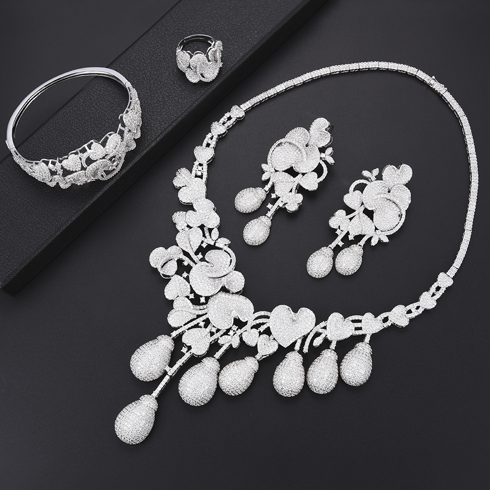 Luxury Flower Sprou African Dubai wedding jewelry Necklace Earrings Sets Bangle Ring Jewelry Set For Women bridal jewelry setsLuxury Flower Sprou African Dubai wedding jewelry Necklace Earrings Sets Bangle Ring Jewelry Set For Women bridal jewelry sets
