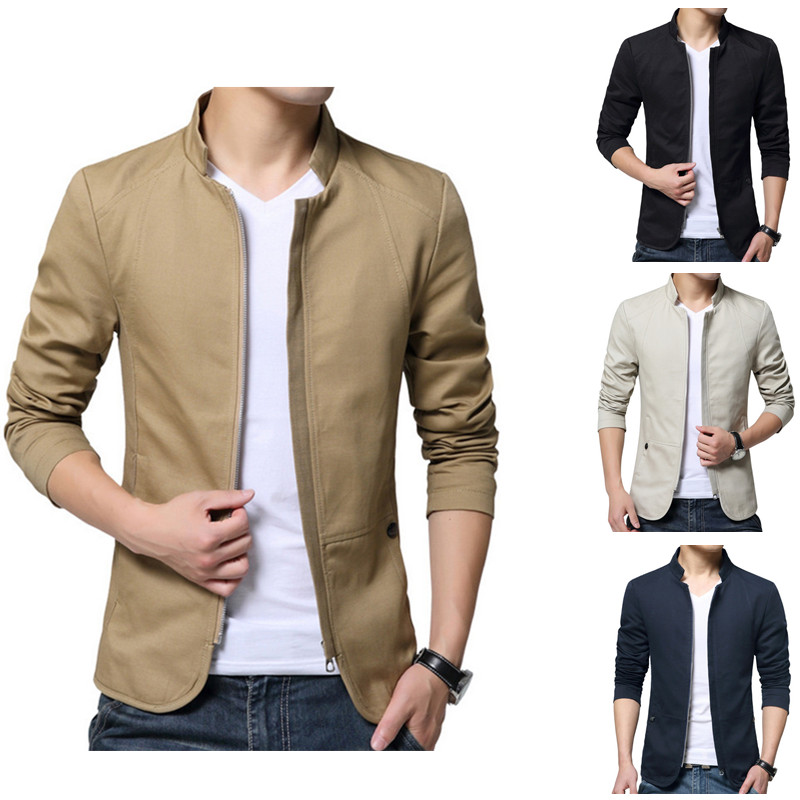 mens hot sale spring and autumn youth casual cotton stand collar jacket short style coat four